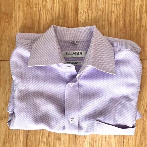 Balmain Other - BALMAIN Cotton Purple Textured Dress Shirt NonIron